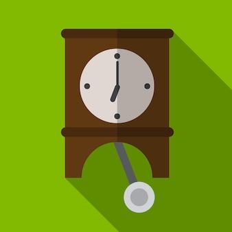 Pendule horloge icône plate illustration isolé vecteur signe symbole