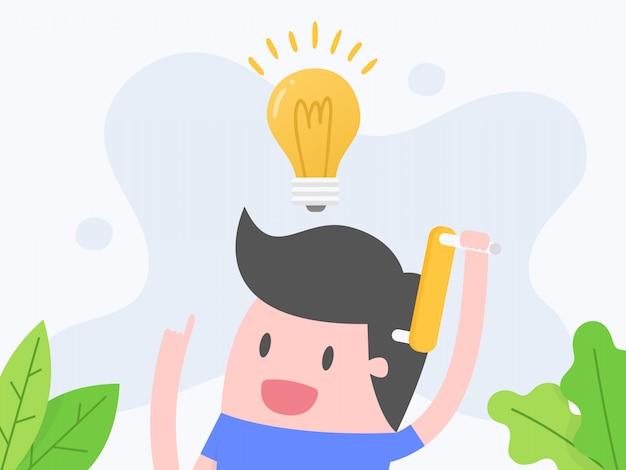 En pensant. homme d'affaires en pensée avec ampoule.
