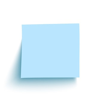 Pense-bête bleu sur fond blanc.