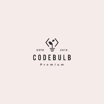 Pense que le code ampoule feuille innovation logo intelligent vector icon