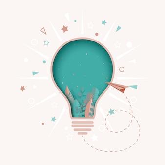 Pensée créative papier ampoule coupe abstraite.