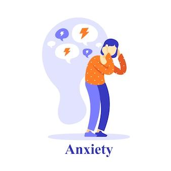 Pensée négative de caractère de femme, estime de soi ou doute, problème de santé mentale, aide psychologique