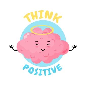 Pensée positive, cerveau mignon faisant la méditation