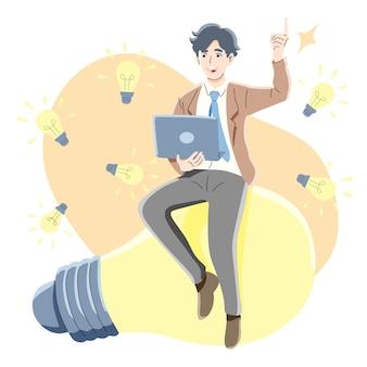 Pensée, recherche, idée, concept de succès commercial