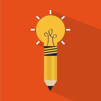 Penser design sur illustration vectorielle fond orange
