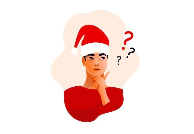 Penser l'homme au chapeau de noël. beau visage, doutes, problèmes,