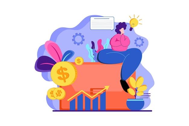 Penser à l'illustration web de la finance d'entreprise