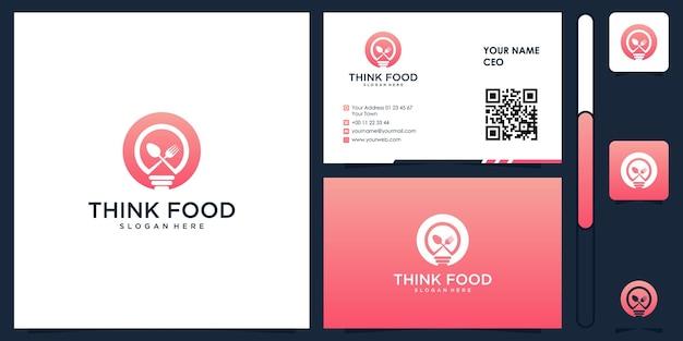 Pensez au logo de la nourriture avec le vecteur de conception de carte de visite premium
