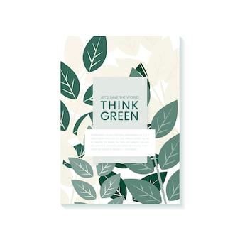 Pensez au vecteur d'affiche vert pour la conservation de l'environnement