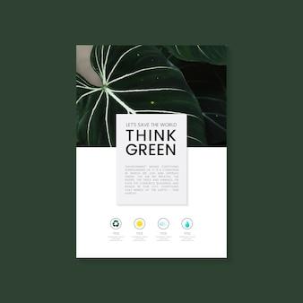 Pensez vecteur de brochure verte conservation de l'environnement