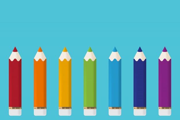 Pensils de dessin animé isolés sur fond bleu