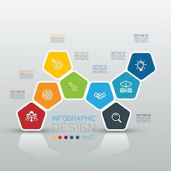 Pentagones étiquette infographie sur art vectoriel