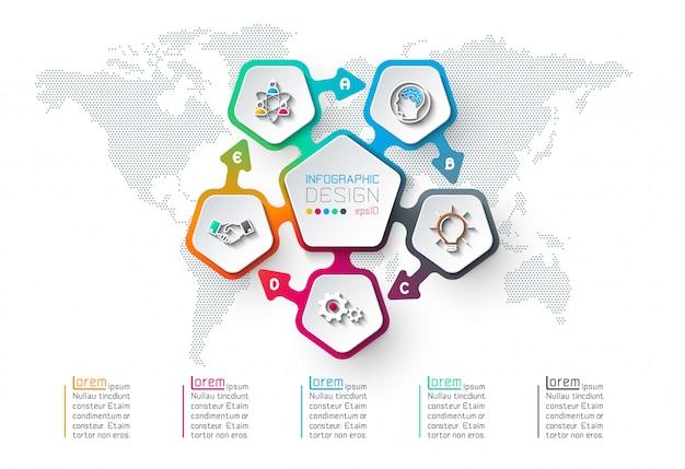 Pentagones étiquette infographique