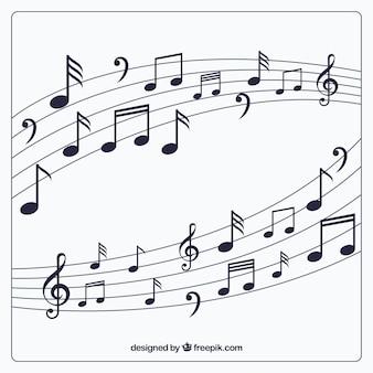Pentagram fond avec des notes de musique
