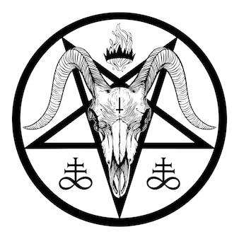 Pentagramme de baphomet. crâne de chèvre. illustration vectorielle