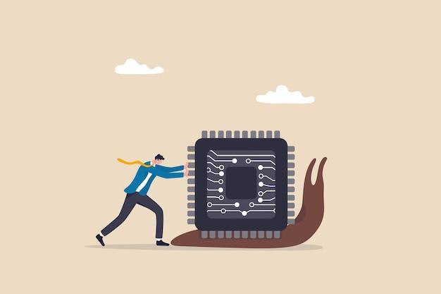 La pénurie de semi-conducteurs et de puces informatiques ralentit l'économie mondiale, le problème de la chaîne d'approvisionnement a un impact sur l'électronique et la fabrication automobile, un homme d'affaires s'efforçant de pousser la puce semi-conductrice sur un escargot lent.
