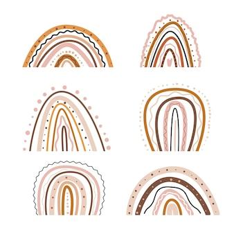 Pépinière d'arc minimaliste arc-en-ciel abstrait boho et chambre de bébé stock plat moderne et tendance dessiné à la main