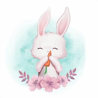 Pépinière mignonne de lapin amour carotte