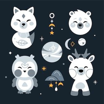 Pépinière mignonne sertie d'animaux, d'étoiles et d'éléments de conception.
