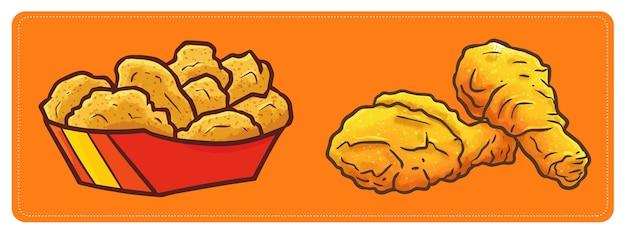 Pépite de poulet frit mignon et kawaii et cuisses de poulet frites