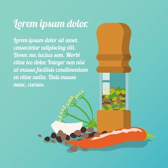 Pepper mill poster avec aneth ail chili pepper épices plat ensemble illustration vectorielle