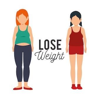 Perdre des icônes de concept de poids
