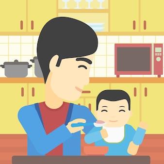Père alimentation illustration vectorielle de bébé.