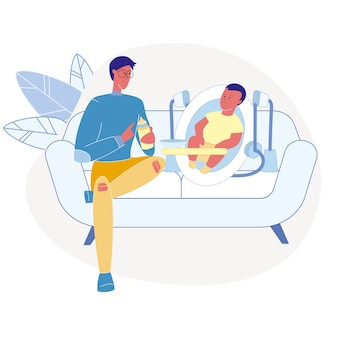 Père, alimentation, nourrisson, plat, illustration vectorielle