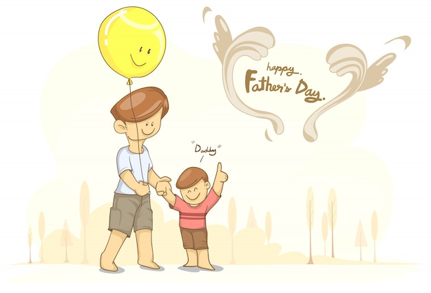 Père avec ballon et fils pour la fête des pères