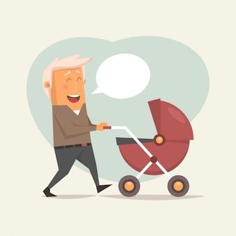 Père blond avec une voiture d'enfant
