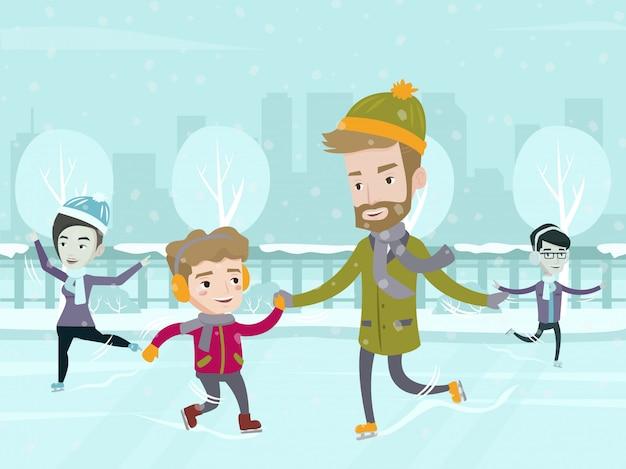 Père caucasien enseignant à son fils le patinage sur glace.