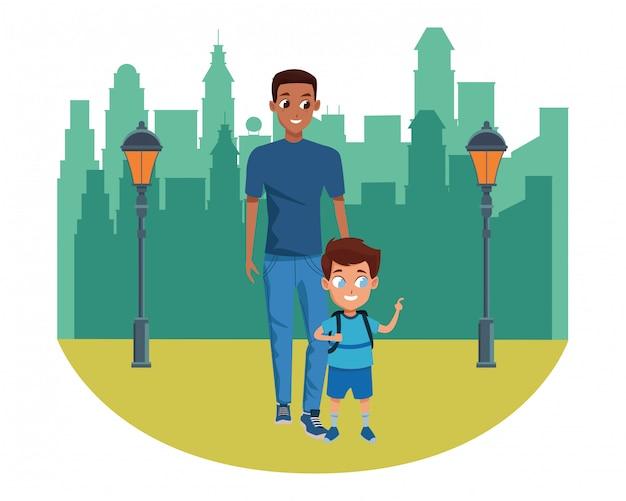 Père célibataire avec enfant