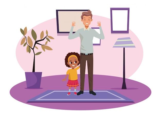 Père célibataire avec petit dessin de fille