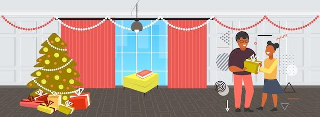 Père, donner, cadeau, boîte cadeau, à, fille, joyeux noël, vacances hiver, célébration, concept, salon moderne, intérieur, pleine longueur, horizontal, vecteur, illustration