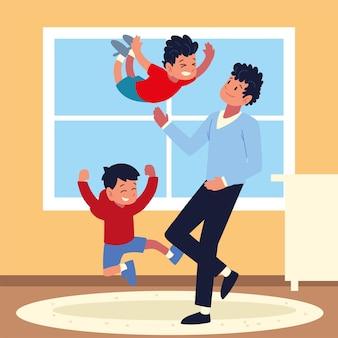 Père avec enfants s'amusant à la maison