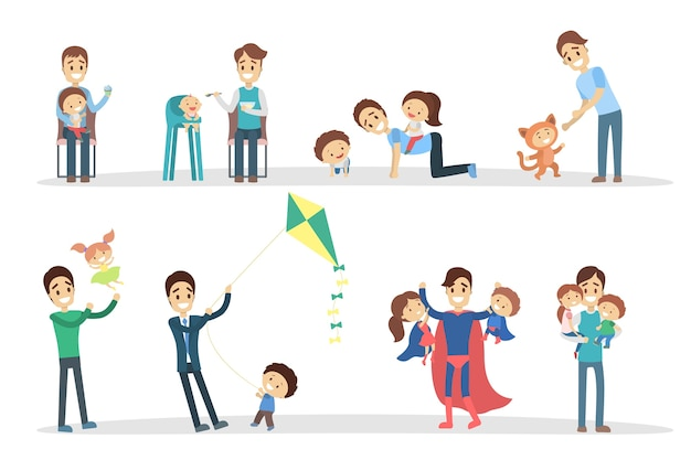 Père avec enfants.