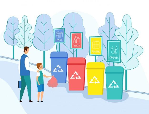 Père enseignant de jeter les ordures dans des conteneurs