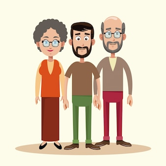 Père avec la famille des grands-parents