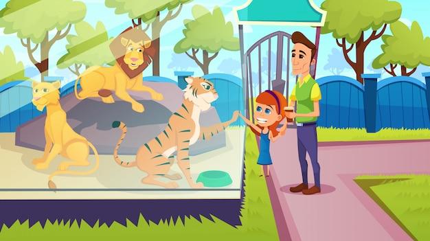 Père et fille au zoo, vacances d'été