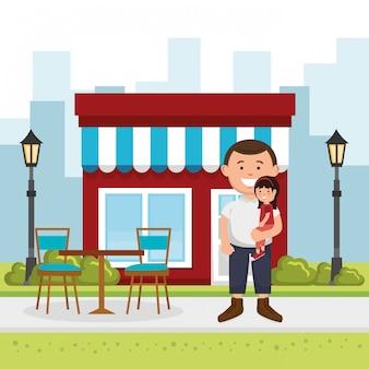 Père avec fille dans la rue