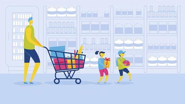 Père avec fille et fils shopping supermarché