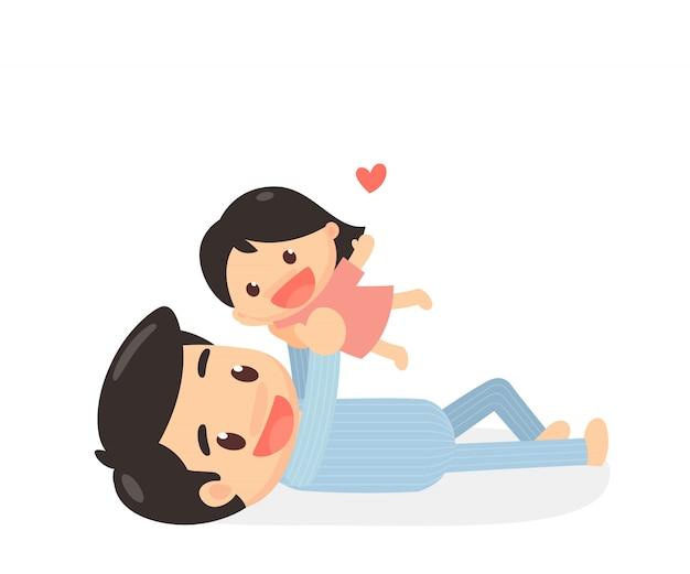 Père et fille jouant sur le lit. heure du coucher. temps de pyjama.