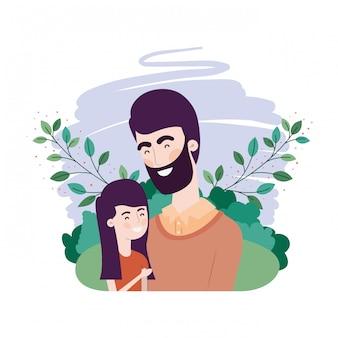 Père avec fille personnage avatar