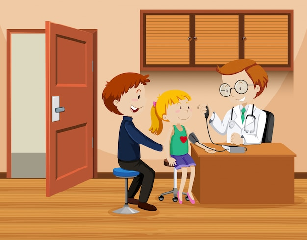 Père et fille rencontrent un médecin