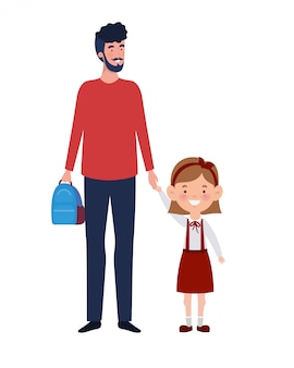 Père avec fille de retour à l'école
