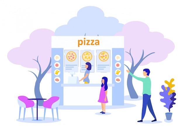 Père, fille, rue, visite, pizzeria