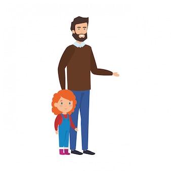 Père et fille avec des vêtements de noël