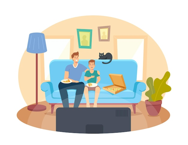 Père et fils adolescent avec pizza et chat assis sur un canapé regardant un film et riant. happy family home cinéma