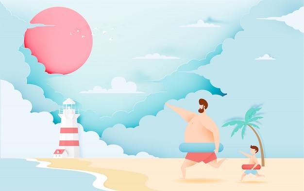 Père et fils avec anneau de bain avec belle plage et ciel