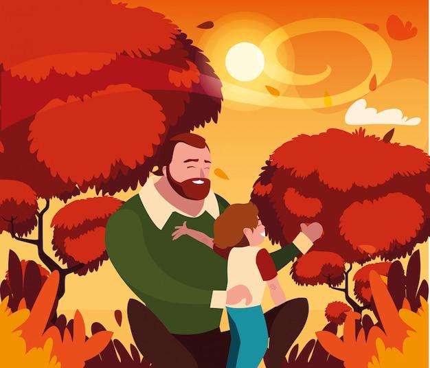 Père avec fils en automne